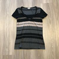 Standard James Perse Womens Sz 2 Poly Supima Cotton Modal V Neck Striped T Shirt