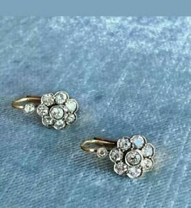Antique 2Ct Round Cut Diamond Cluster Drop Wedding Earrings14K White Gold Finish