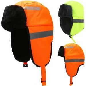 UK Hi Viz High Vis Safety Work Hat Visibility Winter Warm Earflag Reflective Cap
