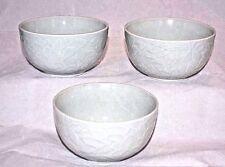 Set 3 Chinese Celadon Green Longquan Stamped Lotus Bowls Rice Soup Sauce Antique