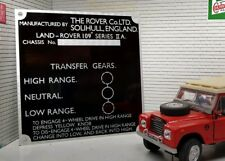 Land Rover Series 2 2a Bulkhead Gearbox/Transfer Box Information Plate 109