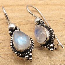 Amazing BLUE FIRE RAINBOW MOONSTONE GIRLS' NOUVEAU Earrings ! 925 Silver Overlay