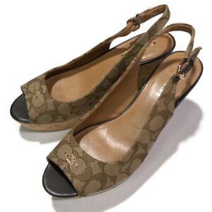 Coach Womens Shoe Milan Wedge Sz 9 B Classic Khaki Logo Open Toe Nordstrom Rack