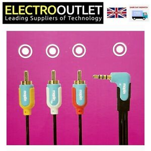 Maplin 4 Pole 3.5mm Jack to Triple Phono RCA Cable Composite AV Lead Camcorders