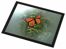 Red Butterfly in the Mist Black Rim Glass Placemat Animal Table Gift, I-BU2GP