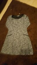 GREY AND WHITE KNITTED LONG JUMPER SIZE 12
