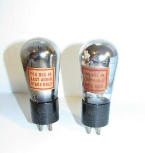 Identical Matched Pair (Gm)-RCA Globe 71A amplifier tubes.TV-7 test @ NOS specs.