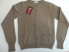 "William Lockie 2 ply Lambswool crew neck button button cardigan top 32"" mushroom"