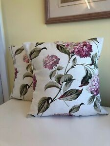 TWO  HANDMADE REVERSIBLE CUSHION COVERS IN LAURA ASHLEY HYDRANGEA PINK