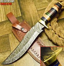 SFK CUTLERY RARE CUSTOM HANDMADE DAMASCUS ART HUNTING BOWIE KNIFE HARD WOOD