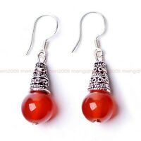 Original handmade natural Red agate bead Tibet silver ms earrings Y04
