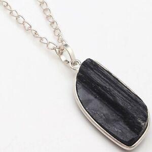 "Black Tourmaline Handmade Woman Chain Necklace 21"" Gemstone Jewellery T18196"