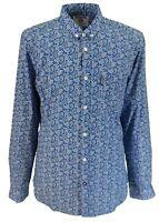 Lambretta Retro Button Down Blue/White Paisley Print 100% Cotton Shirt