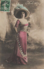 Edwardian Lady Mode 1909 Fashion Original Antique Photo Postcard