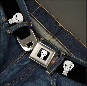 Buckle Down Seatbelt Belt - MARVEL THE PUNISHER - Black & White Logo Made in USA