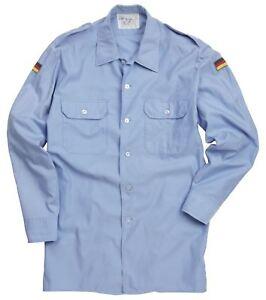 German Army Shirt Original Military Surplus Issued Navy Sky Blue Work Light Top