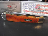 """CASE XX 4 1/8"""" CHESTNUT BONE HANDLE POCKET KNIFE TRAPPER NEW COLLECTION BY CASE"""