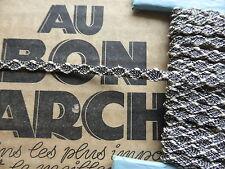 MERCERIE PASSEMENTERIE ANCIENNE-GALON TISSE NOIR & BLANC à LOSANGES-2m=1,90€