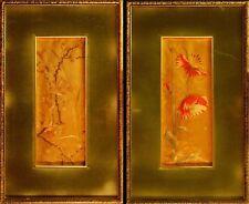RICAMI SU STOFFA - FIORI - Orientale - Coppia di quadri 10x26 cm