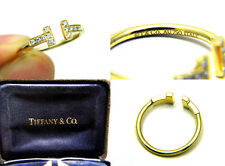 100% Authentic Tiffany & Co. T Wire Diamond 18k Solid Yellow Gold Ring Size 7