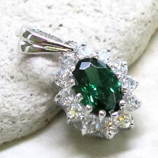 ADORABLE 1.5 CT EMERALD OVAL CUT 925 STERLING SILVER PENDANT
