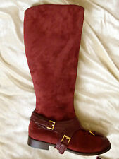 Alexander McQueen tan brown buckle knee high leather flat boots EU size 37