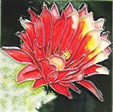 "Southwest Floral Nature Art Tile 4x4 ""Cactus"" Coaster Wall Flowers Garden Gift"