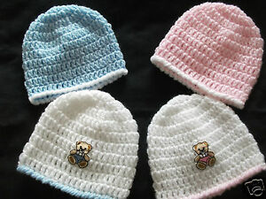 PACK X 2 HANDCROCHETED BABY HATS..PREM/TINY/EARLY/BABY DOLLS
