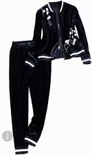 beautiful ladies embroidered navy blue Velour 2 piece track suit