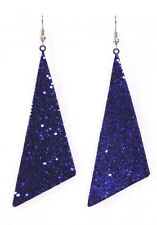 "Glitter triangle dangle drop earrings big 2.5"" Navy holiday sparkle cheer dance"