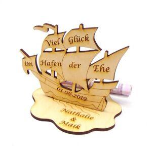Geschenk zur Hochzeit Geldgeschenk Hafen der Ehe Maritim Personalisiert Schiff