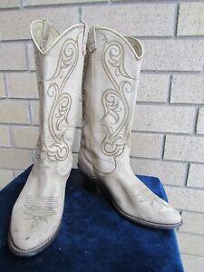 WOMENS ACME BRAND SIZE 6.5 M Cream Cowboy Boots