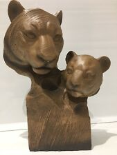 More details for wooden style tiger and cub bust head ornament figurine figure gift present '25cm
