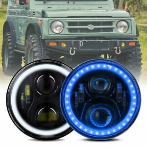 2X for Suzuki Sierra SJ80 SJ80V LJ80 LED Halo 7INCH Headlights Lights Blue Halo