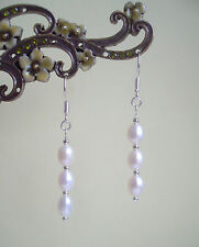 Pretty White Freshwater Pearl Silver Plated Drop Earrings