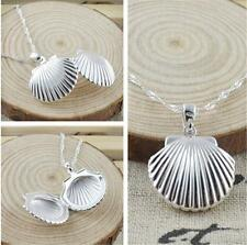 Silver Shell Locket Pendant Necklace Photo Box Charm Xmas Gift