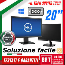 "PC MONITOR PROFESSIONALE LCD 20"" POLLICI 16:9 (DELL, HP) DVI VGA DISPLAY GRADO A"