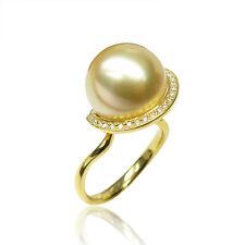 AAAA+ 12mm Round Light Golden South Sea Pearl Ring 18K Yellow Gold&Diamonds