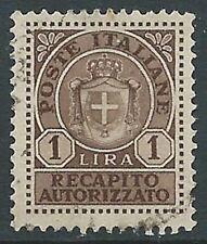 1946 LUOGOTENENZA USATO RECAPITO AUTORIZZATO 1 LIRA - R3-6