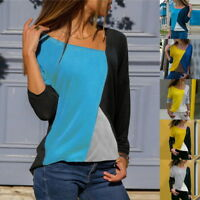 UK Womens Casual Patchwork Blouse Ladies Long Sleeve Stretch Block T-Shirts Tops
