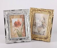 "Vintage Ornate Silver/Gold Baroque Rococo-style Photo Picture Frame -5""x7"""