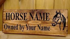 Horse / Pony Name Plate Stable Door Sign Plaque Rustic Wooden Box Personalised
