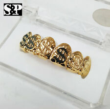 14K Gold Plated Hip Hop High Quality Rapper Bling $$$ Sign Teeth Grillz Top