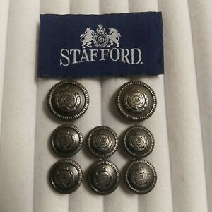 Stafford Silver Pewter Blazer Buttons Suit Sport Coat Jacket