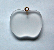 VINTAGE FROSTED APPLE GLASS PENDANT BIG LARGE FLAT FRUIT BEAD
