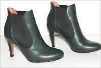 ERAM   Bottines Boots  Cuir Vert Foncé Doublées Cuir Talons Fins T 37 TBE
