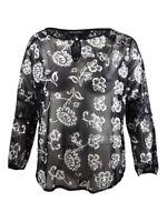 INC International Concepts Women's Plus Size Lace Top 1X, Black