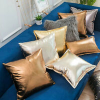 Throw Pillow Cover Cushion Case Metallic PU Leather Sofa Chair Bed Modern Decor