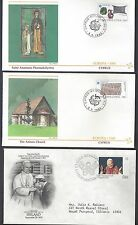 BRITISH COMM RELIGION 1970's 80's COLLECTION OF 10 FDCS W/POPE CHRISTMAS CATHEDR