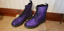 Dr Martens Pascal 8 Eyelet Boots - Purple Glitter - Size 6